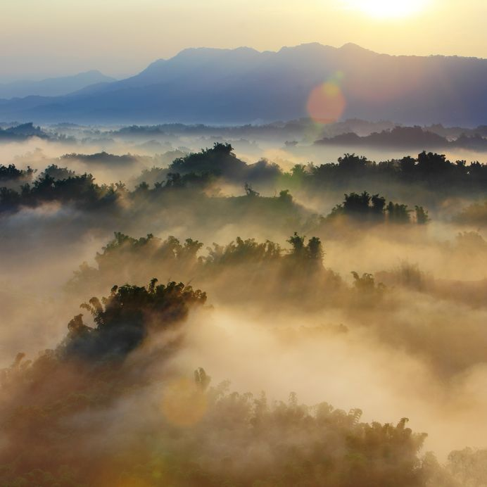 sunshine with mountain cloud, fog in the morning