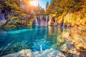 44978813 - majestic view on turquoise water and sunny beams in the plitvice lakes national park, croatia